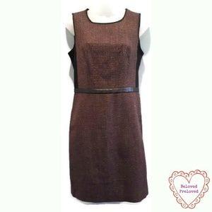DKNY Shimmer Tweed Sheath Dress Faux Leather Trim